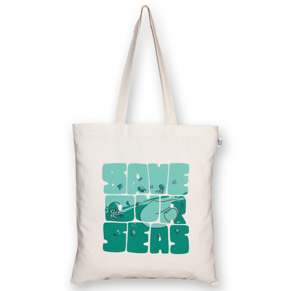Cotton Tote Bag Save our seas Natural-EcoRight