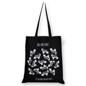 Cotton Tote Bag Save the dog Planet Black-EcoRight