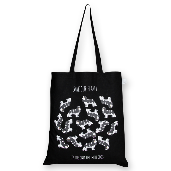 Cotton Tote Bag Save the dog Planet Black-EcoRight
