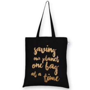 Cotton Tote Bag Saving our Planet Black-EcoRight