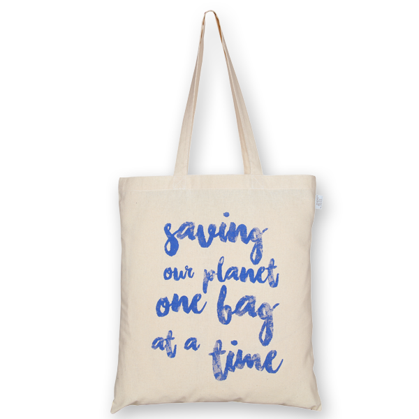 Cotton Tote Bag Saving our Planet Natural-EcoRight