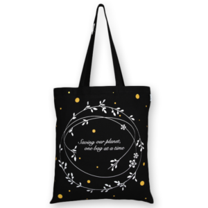Cotton Tote Bag, Save Our Planet - Black