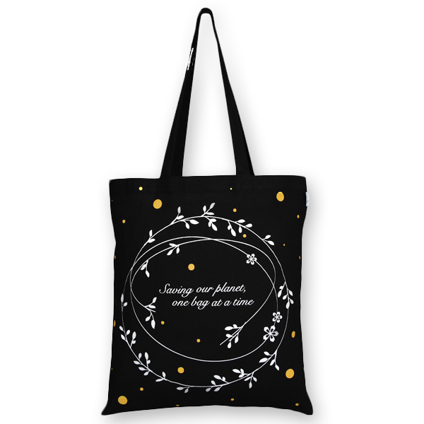 Cotton Tote Bag Saving our Planet one bag at a time Black-EcoRight