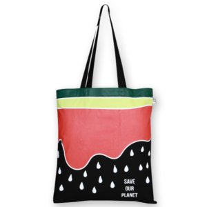 Cotton Tote Bag, Watermelon - Black
