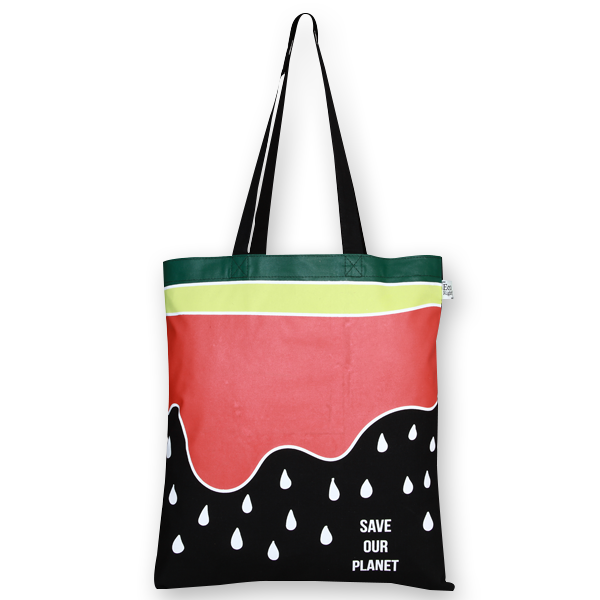Cotton Tote Bag, Watermelon - Black
