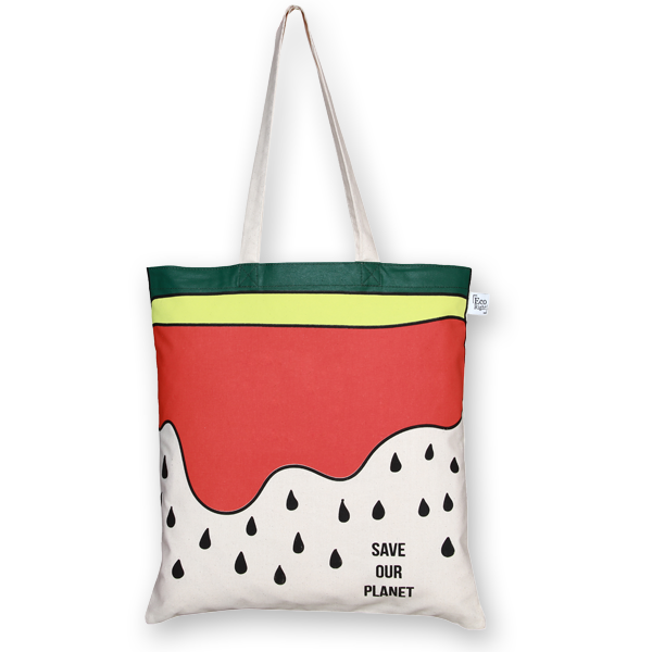 Cotton Tote Bag Watermelon Natural-EcoRight