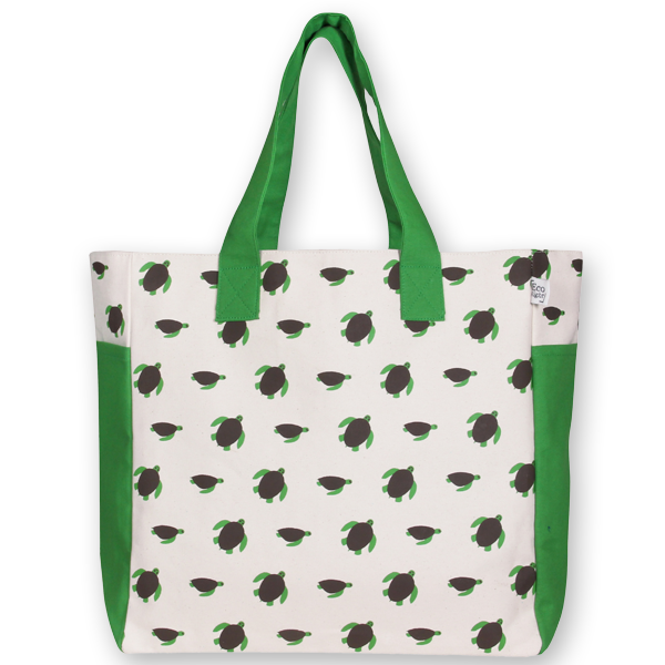 EcoRight Canvas Premium Beach Bag, Turtles - Natural