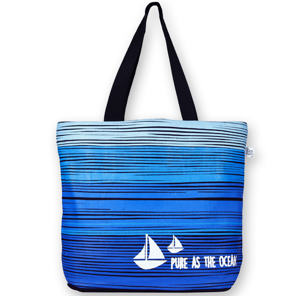 Juton Zipper tote bag Black pure as ocean EcoRight