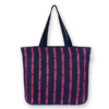 Juton Zipper tote bag Cotton pattern blue EcoRight