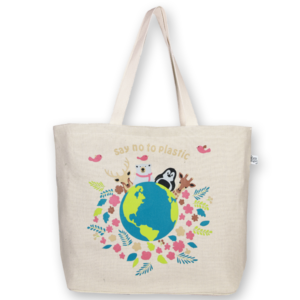 Juton Zipper tote bag Say no to plastic natural EcoRight