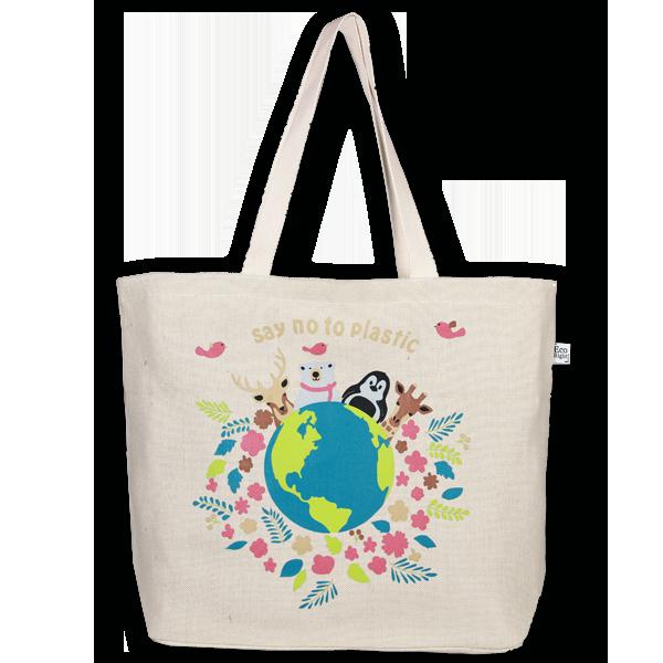 Juton Zipper tote bag Say no to plastic natural EcoRight