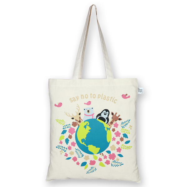 Canvas tote bag happy planet natural-Ecoright