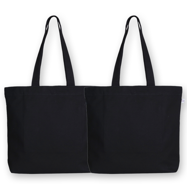Canvas large tote bag pack of 2 black