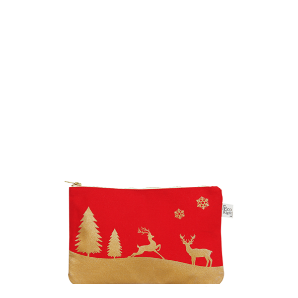 Cosmetic Travel Pouch - Red & Gold