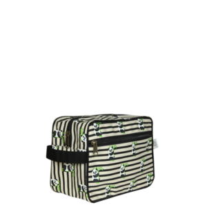 Canvas Travel Pouch, Panda stripes - Natural