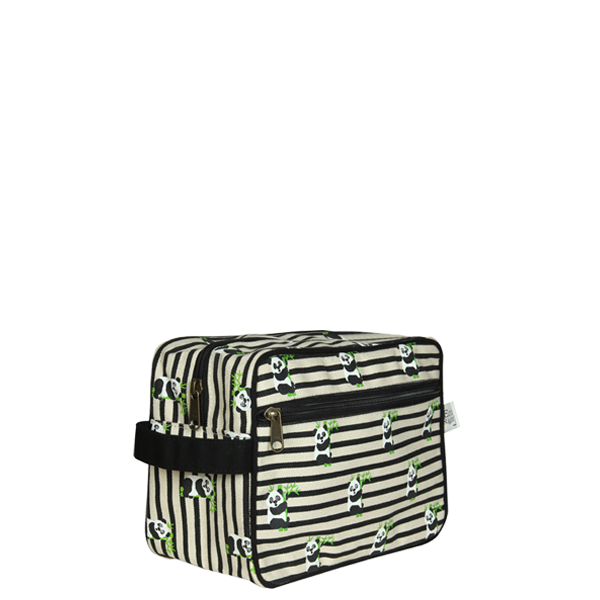 Canvas Travel Pouch, Panda stripes - Natural