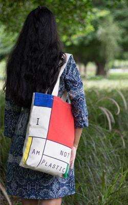 Canvas zipper gusset tote bag color block- EcoRight-min