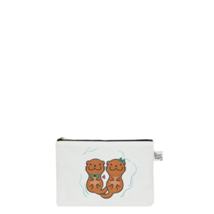 Canvas Cosmetic Pouch, Otter Half- White