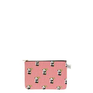 Canvas Cosmetic Pouch, Pandas - Pink