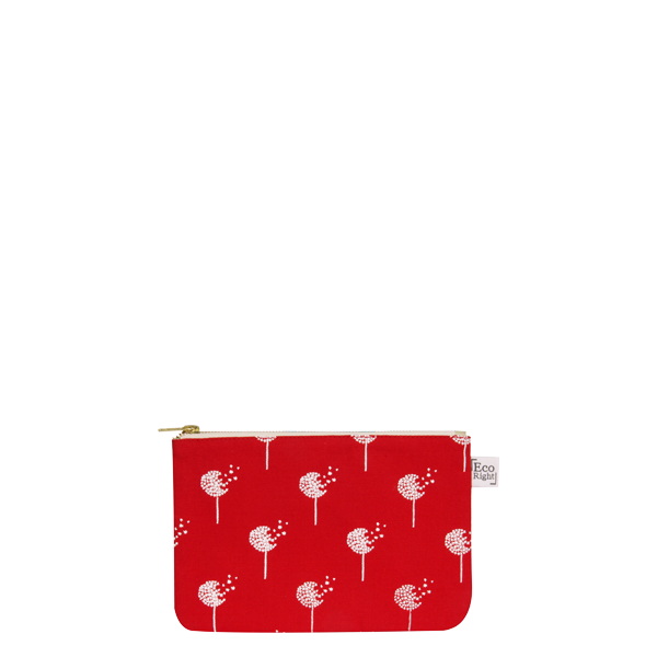 Canvas Cosmetic Pouch, Dandelions - Red